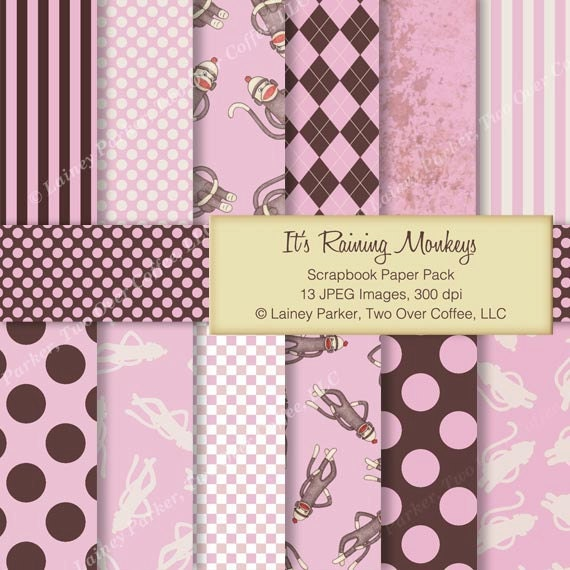 Sock Monkey Paper Pack in Pink and Brown - for Scrapbooking, Card Making, Paper Craft - Digital Download