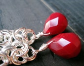 Byzantine Chainmaille Ruby Red Jade Earrings, Long Dangle, Chainmail Gift for Her, Faceted Cranberry Jade Teardrop