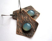 Hammered Copper Earrings and Aquamarine, Tree Bark Textured Copper Earrings, Oxidized Metals, Mixed Metal Jewelry, Metalsmithing Accessory