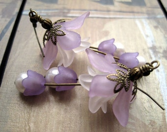 Purple Lucite Flowers and White Pearls Earrings, Light Purple Lilies, Flower Petals with Antique Brass Stamen, Floral Accessory, Under 20