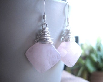 Wire Wrapped Rose Quartz Earrings, Faceted Natural Gemstone, Romantic Gift for Her, Light Pastel Pink, Square Gemstones, Victorian Style