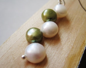 June Birthstone Earrings Green and White Freshwater Pearl Earrings Zig Zag Earrings White and Green Pearl Drop Earrings Snowdrops Earrings