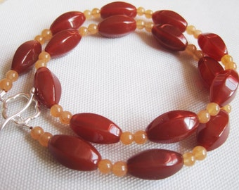 Choker Beaded Necklace, Carnelian and Hemimorphite Gemstones, Foliage, Ruby Red Temptation