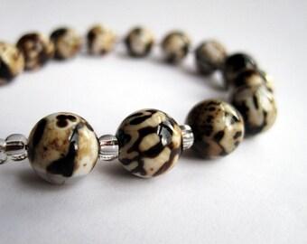 Brown and Cream Swirl Bracelet, Brown Fire Agate Bracelet, Girlfriend Gift, Gemstone Bracelet, Natural Stone, Earthy Jewelry