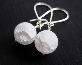 White Snow Ball Crackle Quartz Earrings, Snow Globe Earrings, Under 20, Icicles, Bridesmaids Gift, Christmas in July, Stocking Stuffer