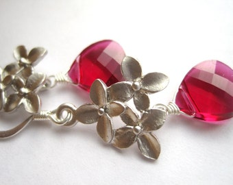 Ruby Crystal Flower Earrings, Matte Flowers, Faceted Swarovski Crystal Teardrops, Red Briolettes with flowers, Valentine Gift for Her