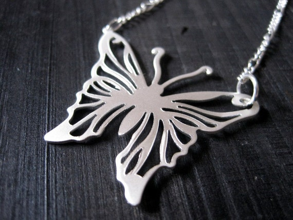 LAST ONE Large Butterfly Pendant, Matte Silver Necklace, Papilio, Metalwork, Mod Jewelry