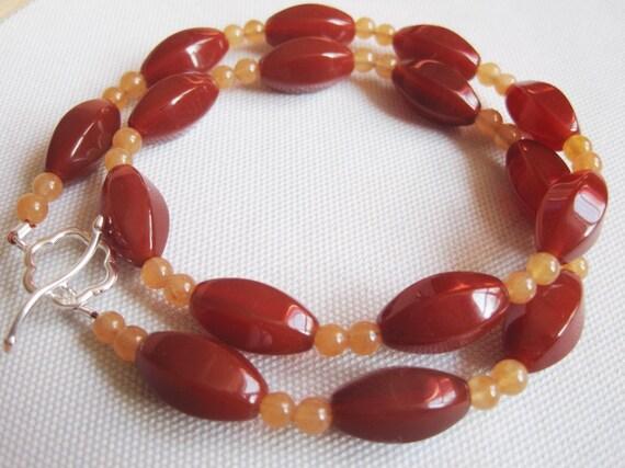 Blood Orange Necklace, Orange Carnelian Necklace, Orange Beaded Necklace, Orange Beaded Choker, Carnelian and Hemimorphite Beads Choker