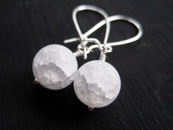 White Snow Ball Earrings, Frosted Crackle Quartz Earrings, White Snowball Earrings, Christmas in July Stocking Stuffer
