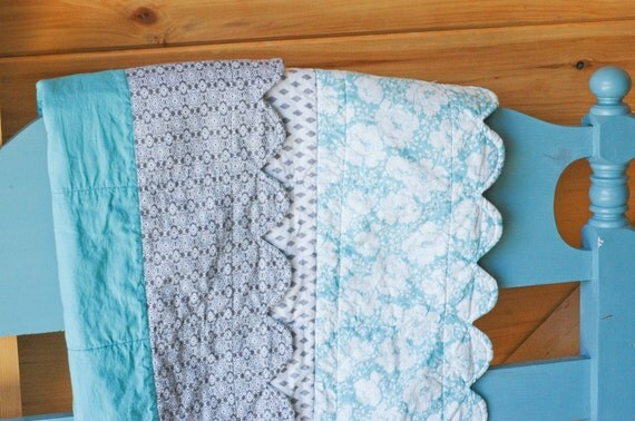 Scalloped Baby Quilt in Prints of Gray and Blue Floral, Ready to Ship