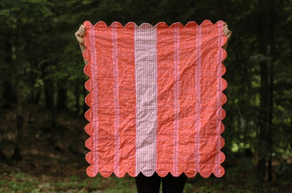 Baby Quilt in Pinks and Orange--- Ready to Ship