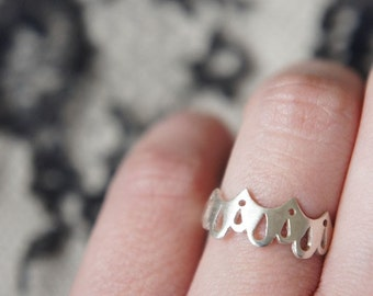 LINGERIE RING 001 - Sterling Silver - Hand Cut by Gemagenta - White or Black - Sexy, Lace, Brocade, Delicate
