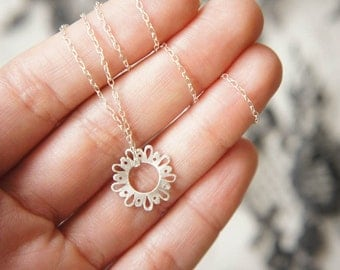 Lingerie Tiny Cute Pendant - Silver - by Gemagenta - Black or White - Everyday Necklace, Delicate, Lace, Romantic, Sweet