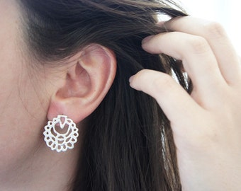 QAMAR Silver Studs - Moroccan Sugar Collection - Handmade, sugar, delicate, geometric, moon, mystic, bridal earrings, candy