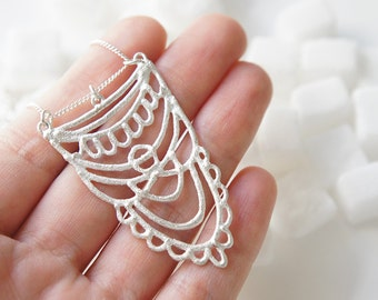 READY to SHIP - SUKKAR Silver Necklace - Moroccan Sugar - Handmade, organic, lacy, bohemian, henna, bridal jewelry, amulet