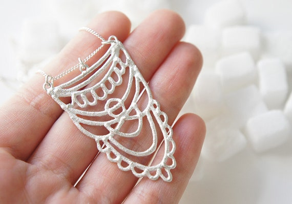 SUKKAR Silver Necklace - Moroccan Sugar Collection - Handmade, organic, lacy, bohemian, henna, bridal jewelry, amulet, candy
