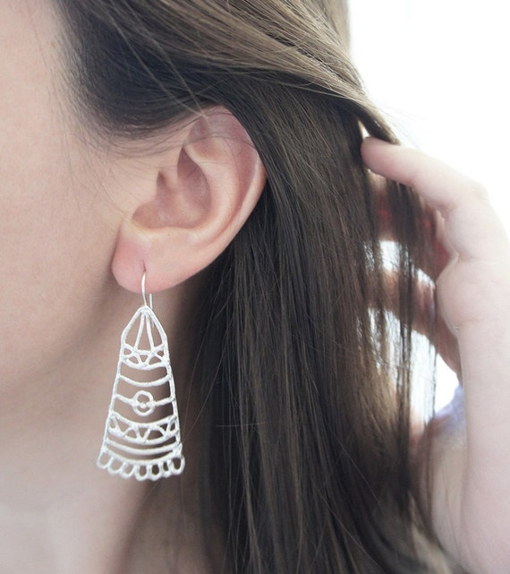 BARAKA Silver Earrings - Moroccan Sugar Collection - Handmade, tribal, bohemian, henna tattoo, bridal earrings, magic, mystic, dangling