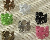 Set of 7 Assorted...ORIGINAL Design Filigree Ring Base with Stem and Leaves Pad....Adjustable...Extra Wide 20mm...