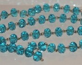 Turquoise Blue Glass Crystal Bead Chain 90cm 14mm Beads Hand Made Antique Brass Eye Pins AWESOME