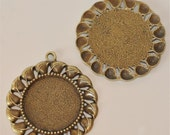 Set of 2  Antique Brass X-Large Base Metal Circle with Filigree Pendant Connector Cameo Extra Fancy Frame Settings Circle round 29mm 47mm
