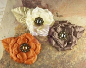 Set of 3 Prima  Flowers Spice - Miss Kate Collection 552398  Ivory Orange Chocolate Pearls Crystals Weddings for headbands