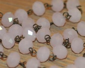 Moonstone Pink Glass Crystal Bead Chain 90cm 10mm Beads Hand Made Antique Brass Eye Pins AWESOME