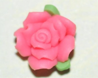 Pink 7mm...Polymer Clay....Flowers....Cabs...Cabochons...for  Bobbies or Accent Pieces....TOP Quality....6 Pc Piece Lot