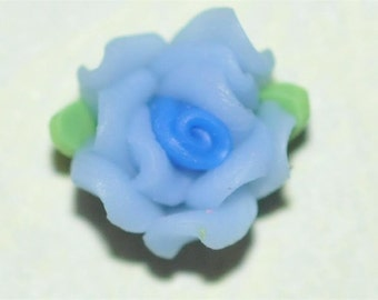 Blue 7mm...Polymer Clay....Flowers....Cabs...Cabochons...for  Bobbies or Accent Pieces....TOP Quality....6 Pc Piece Lot