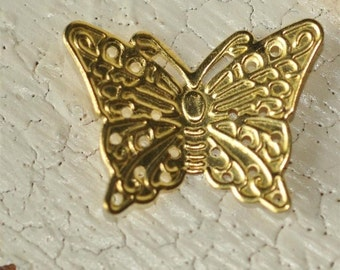 Gold Plated Brass Filigree...Butterfly...Connector... Finding...Charm...Pendant....Very Cute...Set of 6