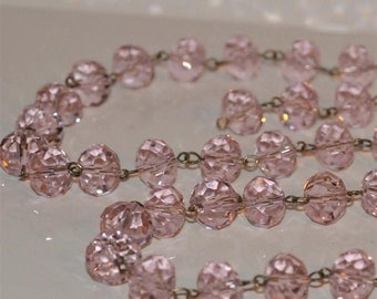Pink Glass Crystal Bead Chain 90cm 14mm Beads Hand Made Antique Brass Eye Pins AWESOME