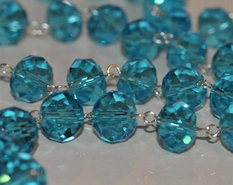 Turquoise Blue Glass Crystal Bead Chain 90cm 10mm Beads Hand Made Silver Eye Pins AWESOME