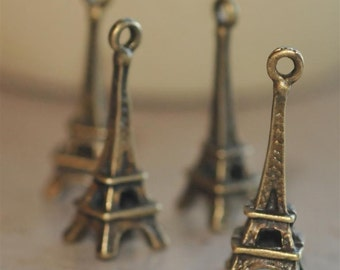 Set of 6 Vintage Style Eiffel Tower 23mm x 8mm Pendants Retro