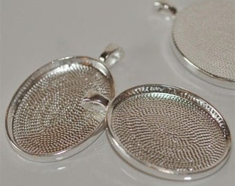 22mm x 30mm Bezel Cup Tray Heavy Duty Oval Silver Pendant for Resin or Glass Cabochon Set of 4