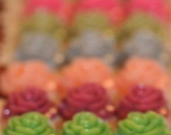 Multi Assorted...10mm.... Set of 19...Open Full Bloom Rose ....Cabochons PERFECT for Bobbies Bobby Pins....Gloss Finish