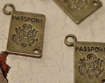 Set of 6 Antique Brass Vintage Style Passport Travel European Paris Charms Pendants Retro