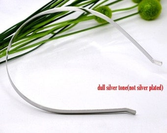 Set of 4 Silver Metal Headband 4mm wide for Crystals Cabochons or Ribbon