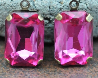 Petite Set of 2 Vintage Magenta Crystal Glass 15mm x 10mm Octagon Antique Brass Mounted stones Single hole mount for Earrings or Pendant