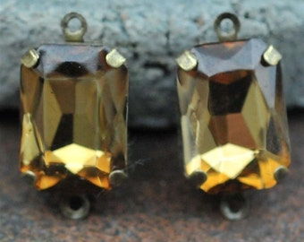 Petite Set of 2 Vintage Topaz Brown Crystal Glass 15mm x 10mm Octagon Antique Brass Mounted stones Double hole mount for Earrings or Pendant
