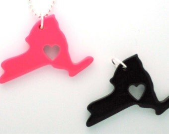 DIY Do It Yourself I Heart New York Necklace Set Heart is in New York pendant Ball Chain
