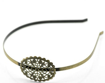 Antique Brass CIRCLE Filigree Metal Headband 5mm wide for Crystals Cabochons or Ribbon