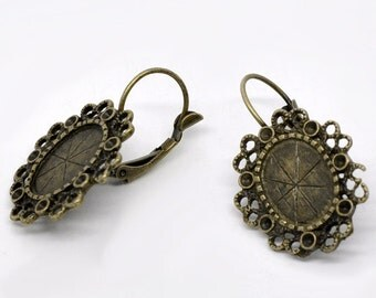 Set of 2 pair Antique Brass Vintage Style Cameo Setting drop earrings 32mm  10mm x 13mm