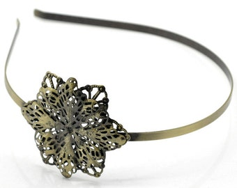 Antique Brass Filigree Flower Metal Headband 5mm wide for Crystals Cabochons or Ribbon