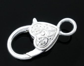 Set of 4.... Silver Plated Fancy Heart Lobster Clasp....26mm x 14mm
