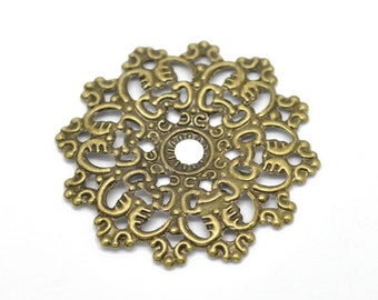 Set of 6 Antique Brass Filigree Connector 47mm X-Large Oversized