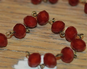 Moonstone Red Glass Crystal Bead Chain 90cm 10mm Beads Hand Made Antique Brass Eye Pins AWESOME