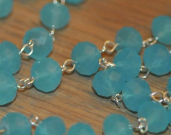 Moonstone Turquoise Glass Crystal Bead Chain 90cm 10mm Beads Hand Made Silver Eye Pins AWESOME