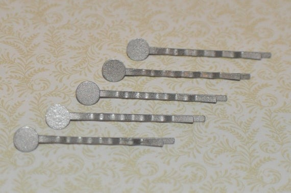 Wholesale lot of 50.... Antique Silver... Bobby Pins.... for Cabochons or Flowers.... Hair Pins with Pads 2 Inches long...