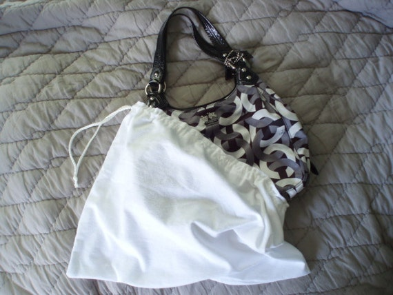 MADE TO ORDER Purse Protector Clutch Cover Handbag Holder Dust Saver or Bag Wrap in White Flannel
