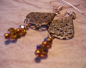 PIF CLEARANCE Filigree Copper Hanging Earrings with Crystals