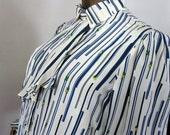 bEsT.. vintage 70s trompe l'oeil surreal & asymmetric neiman marcus pinstriped peopled work blouse ..bEsT